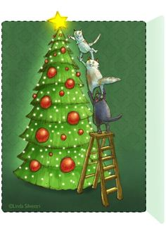 illustration...day 5 of an advent calendar pages...LInda Silvestri
