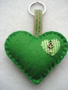 Items similar to Green Felt Heart Shape Key Ring Felt Bag Charm Valentines Day Mothers Day on Etsy Felt Crafts Diy, St Patrick's Day Crafts, Felt Diy, Sewing Crafts, Felt Christmas, Christmas Crafts, Valentine Crafts, Valentines, Felt Keychain