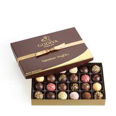 Godiva Chocolatier Signature Chocolate Truffles Gift Box, Classic, 24 Piece