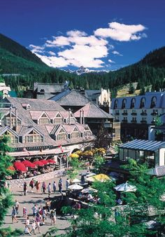 Beautiful Vibrant Whistler Village in the summer time, Whistler, BC