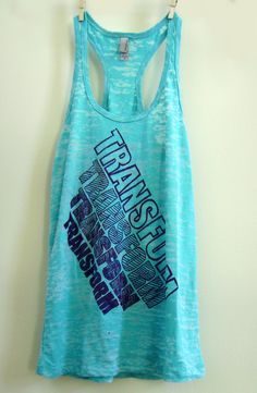 "Medium Teal / Turquoise Women's ""TRANSFORM"" Crossfit/ Fitness / Workout Tank Top. $22.00, via Etsy."
