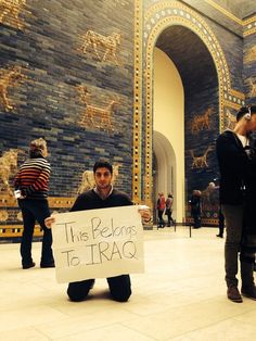 Iraqi student Zeidoun Alkinani protesting the possession of ancient Iraqi artifacts by Germans at the Babylonian Ishtar Gate in the Pergamon...