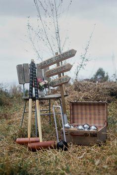 Garden lawn games hire. Croquet, Boules & rustic sign