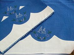 Antique Embroidered Pillowcases and Top Sheet, Circa 1929, Handmade Bedding, Embroidered Bluebirds, Vintage Linens by TheSweetBasilShoppe