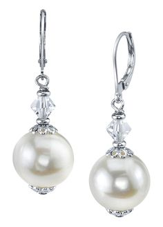 Radiance Pearl - White Freshwater Cultured Pearl Earrings from Brands Exclusive. Must make a copy of these!