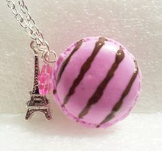 French Macaroon Pendant Polymer Clay by GiraffesKiss on Etsy, £10.00