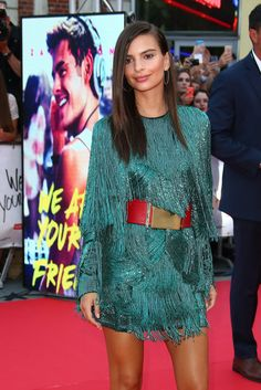 Emily Ratajkowski's Premiere Dress Is the Perfect Antidote to the Naked Dress Trend: With one step on the WAYF red carpet, Emily Ratajkowski just solidified her status as a major superstar — and it's all thanks to that fringed Balmain dress.