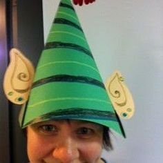Christmas Elf hats with ears. Holiday paper crafts for kids. DIY ideas for fun q