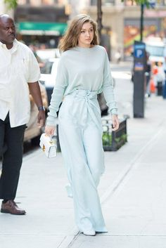 Gigi Hadid stunned in an all mint ensemble while out in the New York City breeze. Simple white accessories—a mini top handle bag and pointed toe boots—kept the look fresh. Style Gigi Hadid, Gigi Hadid Outfits, Gigi Hadid Fashion, Mode Outfits, Fashion Outfits, Fashion Trends, Chic Outfits, Dress Fashion, Latest Fashion