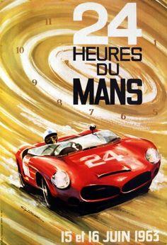 24 Heures du Mans, 1963 - original vintage poster listed on AntikBar.co.uk