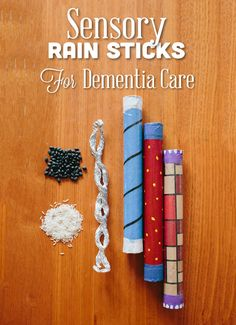 Sensory Rain Sticks: Rain sticks are well loved by babies and older children. They are also particularly good for people living with dementia.  They remind people of the sound of gently falling rain, which is harmonious and relaxing.