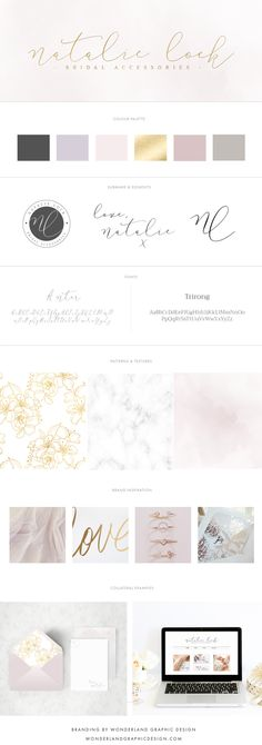 Brand style board for Natalie Lock Bridal | This luxury brand design board for a wedding bridal boutique business, wedding professional, shop owner and creative female entrepreneur has logo, variation and submark, a muted lilac, ivory, gold, champagne, charcoal color palette with gorgeous script font and serif typography. Feminine branding includes watercolor texture, marble, and floral pattern. Click for mood board and social media branding and web design! Wonderland graphic design.