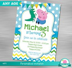 Georges Pig Invitation DIY Peppa Pig by berryniceprintables