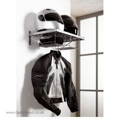 I'd love to hang this Biker Duo Clothes Rack in my garage! No more helmet hanging off the handlebars!