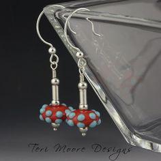 Orange & Turquoise Springs Earrings Handmade Lampwork bead sterling silver, orange, and turquoise earrings by Teri Moore SRA M2 by terimoorelampwork on Etsy