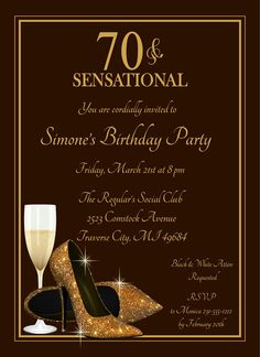 70th Glitter Shoes Invitation - Champagne Glass Gold Birthday Invite