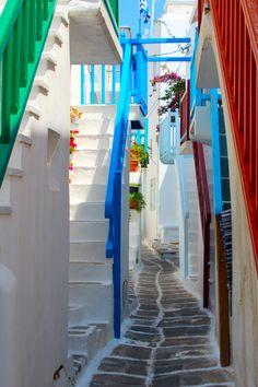 Little Streets of Mykonos, Greece; Mykonos has amazing beaches.