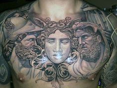 Upper Chest Greek Mythology Hercules Guys Tattoos