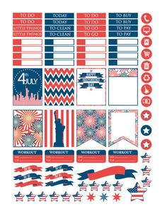 Patriotic 4th of July Printable Planner by PrintThemAllStudio