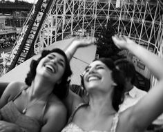 riding roller coasters -- Eva & Rose  ( fun summer time ). people don't really ever look this happy anymore