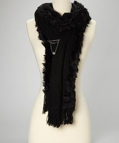 Love this Black Faux Fur Trim Scarf on #zulily! #zulilyfinds