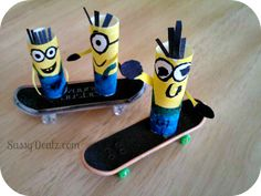 Despicable Me Minion Finger Puppets for kids on skateboards