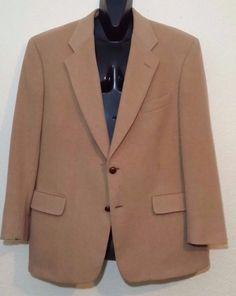 VTG! Evan Picone Mens Sportcoat Blazer 42R 100% Camel Hair Leather Button 2 btn  #EvanPicone #TwoButton #Vintage