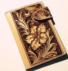 Floral Leather Tooling Patterns | Leather Passport Holder With Carved Flowers Tribal Chic Floral Pattern .