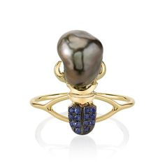 Daniela Villegas Keshi Pearl Khepri Ring. One of a kind 18k Yellow Gold Khepri ring with .14cts of Blue Sapphires and Keshi Pearl. Size 4. $2,375.00