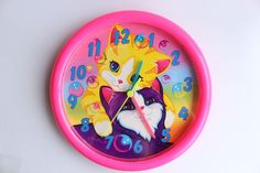 Rare 90s Vintage Lisa Frank Bubbles Kittens Cats Wall Clock Neon Pink