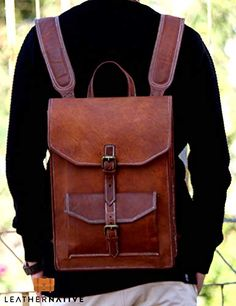 ba12959262f8 Handmade World Brown Vintage Leather Backpack Laptop Messenger Bag Rucksack  Sling for Men Man Women