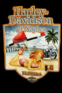 "HARLEY DAVIDSON SZ M Pocket Tee ""NAPLES FLORIDA"" PIN UP GIRL LOGO"