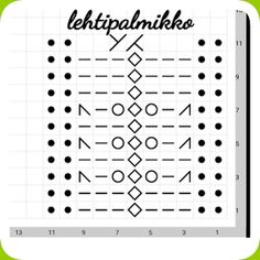 Hullaantuneet puikot! : Lehtipalmikko Knitting Stiches, Knitting Charts, Lace Knitting, Knitting Socks, Crochet Stitches, Knitted Hats, Knitting Patterns, Knit Crochet, Knitting Machine