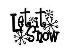 Let It Snow Metal Sign with Snowflakes - Black, 13.5x10, Winter Decor, Christmas Decoration, Snow, C
