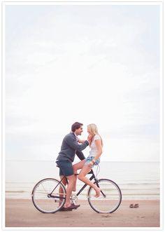 beach bike engagement session