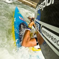 Teva athlete Mike Dawson at the Slovenian whitewater training course.