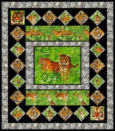 """""""Tiger Majesty"""" pattern at equilter - this screen lets you put fabrics on a wishlist (From their KEYWORD INDEX!) and then drag them into the blocks to visualize. GREAT for combining a pillow-sized panel with some nice vignette fussy-cuts. You could make it a simple I Spy, too, i you used a pair of each image.  (Think DINOSAURS or BIRDS) pattern at http://www.equilter.com/images/patterns/QPCCTIGR.pdf"""