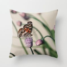 Butterfly and Chives Pillow by BacktoBasicsPillows on Etsy