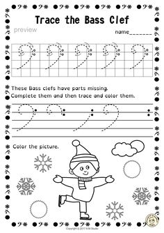 A set of 20 winter themed music worksheets is created to help your students learn to trace, copy, color and draw symbols, notes and rests commonly used in music. Practice in copying them onto their positions on the staff is provided in large size. #elmused #music #musicworksheets #musiceducation #musictracingworksheets #AMStudio