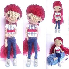 Jill洁儿 Great works done by participant of my FB Page Crochet Activity, @art_made.az . The red hair made Jill look pretty and trendy. ☆