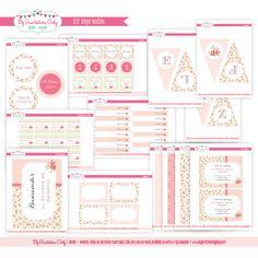 Kit Imprimible Cumpleaños Shabby Chic Rosa Niña. By Invitation Only Shop http://byinvitationonlyblog.com