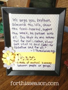 Write bible verses on a picture frame and keep on the table.  Have kids practice reading the verse at every meal.  My 5 year old learned this verse in 3 days!