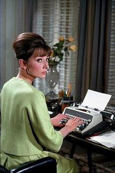 """Paris When It Sizzles"" Audrey Hepburn 1963 Paramount 60s secretary style green wool dress jacket skirt suit pale color photo print ad movie star vintage fashion icon"