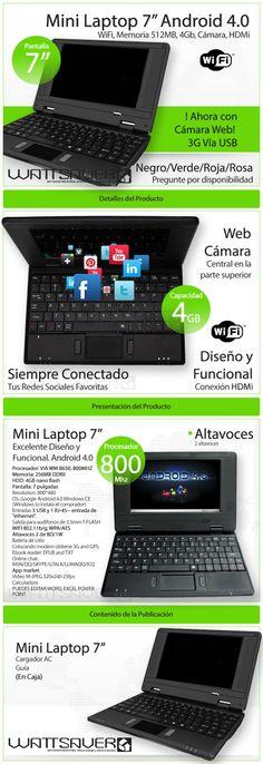 """Tablet Android 7"""". Cliente Wattsaver. Elaborado por iGrafi"""