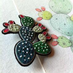 croquis de bijou - broche cactus Macon&Lesquoy aquarelle - watercolor - micron dots - ink