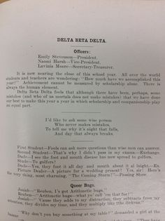 From the Oriole, June 1924. Delta Beta Delta sorority