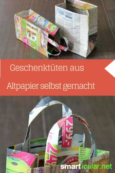 Geschenktüten aus Altpapier basteln – Nutzlose Prospekte mit neuer Bestimmung Newspapers and advertising leaflets in the waste paper? You can do many useful things with it. Here detailed instructions for homemade gift bags! Recycled Crafts, Diy And Crafts, Paper Crafts, Rock Crafts, Homemade Gift Bags, Tetra Pack, How To Make A Gift Bag, Origami Diy, Waste Paper