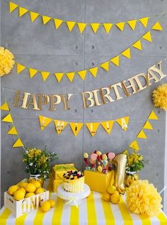 lemon party theme birthdays ideas for 13 year olds Yellow Party Themes, Yellow Party Decorations, Yellow Birthday Parties, Simple Birthday Decorations, Sunshine Birthday Parties, Yellow Theme, Paper Decorations, Happy Birthday Decor, 1st Birthday Themes