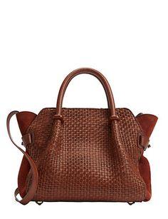 Nina Ricci Marche Woven Leather Satchel: Brown