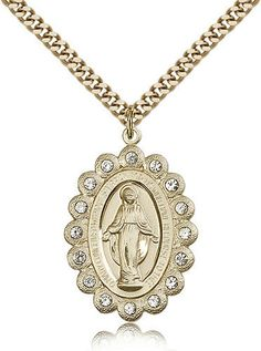 24 Inch Endless Rhodium Plated Chain Mens Round Sterling Silver Our Lady of Perpetual Help Medal